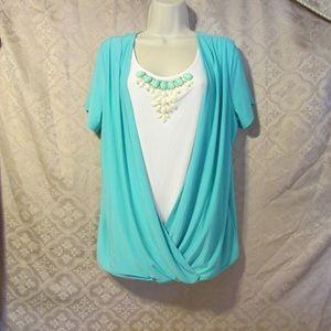 Envelope Stretch Blouse Aqua/White/Turquoise 1X